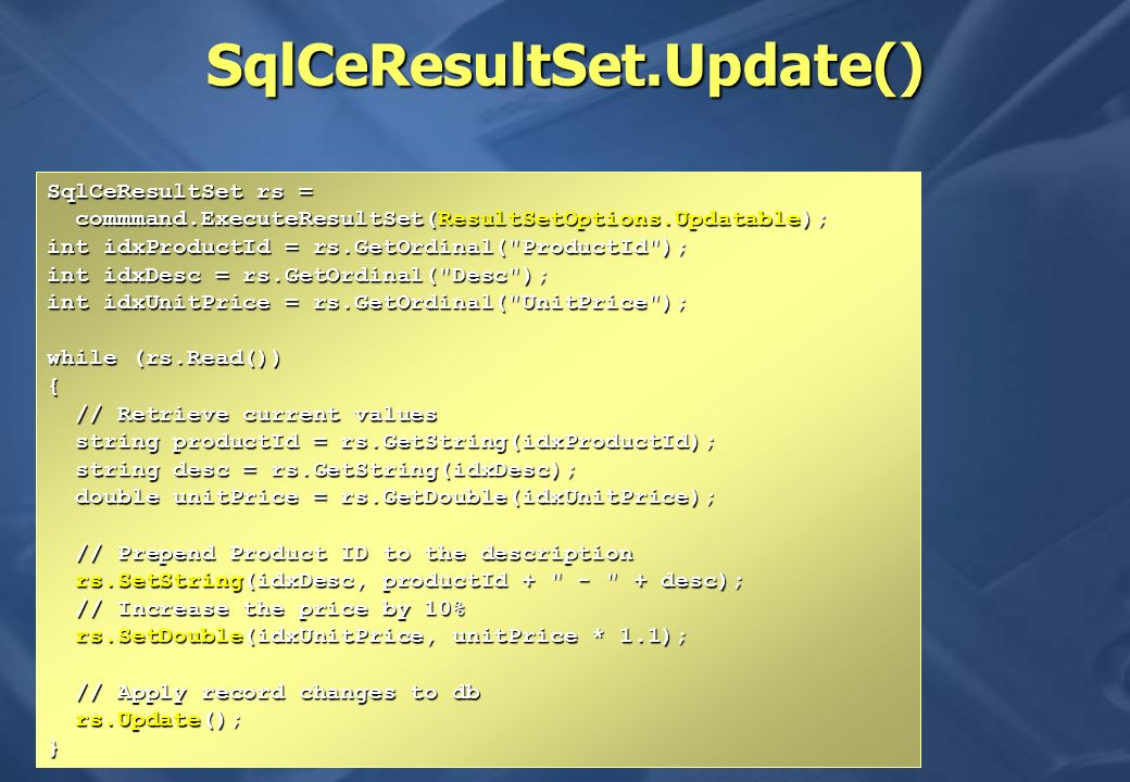 SqlCeResultSet.Update()