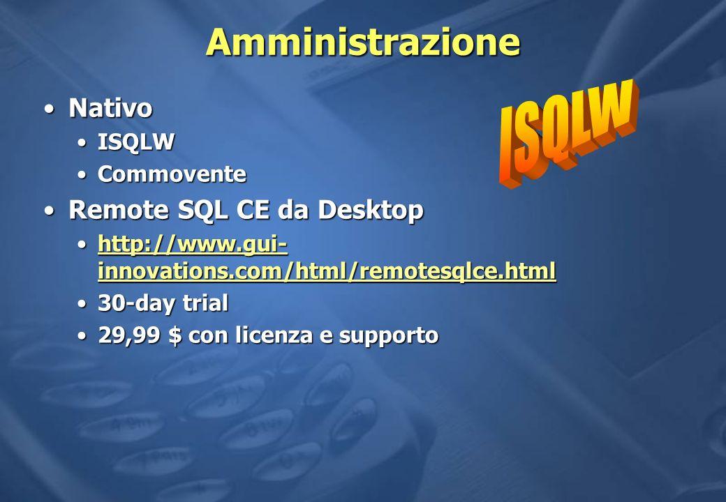 Amministrazione ISQLW Nativo Remote SQL CE da Desktop ISQLW Commovente