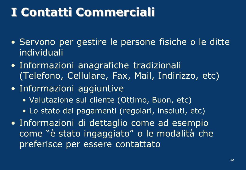 I Contatti Commerciali