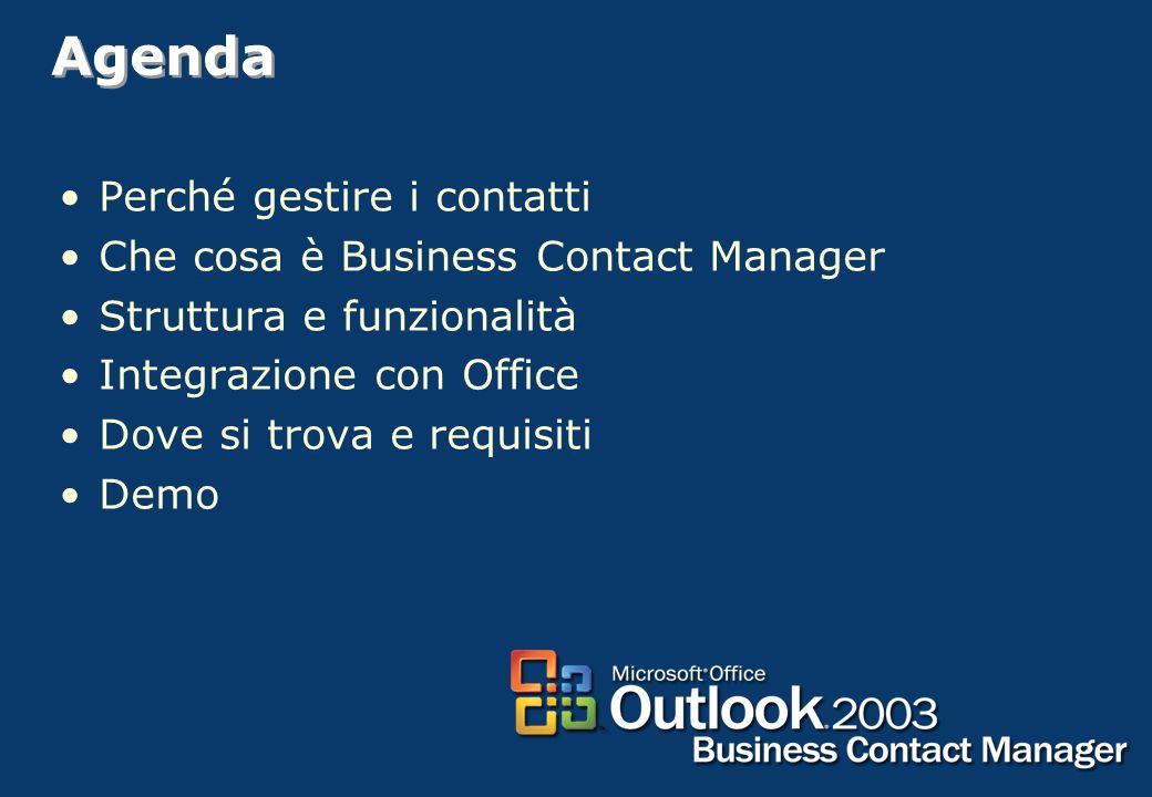 Agenda Perché gestire i contatti Che cosa è Business Contact Manager
