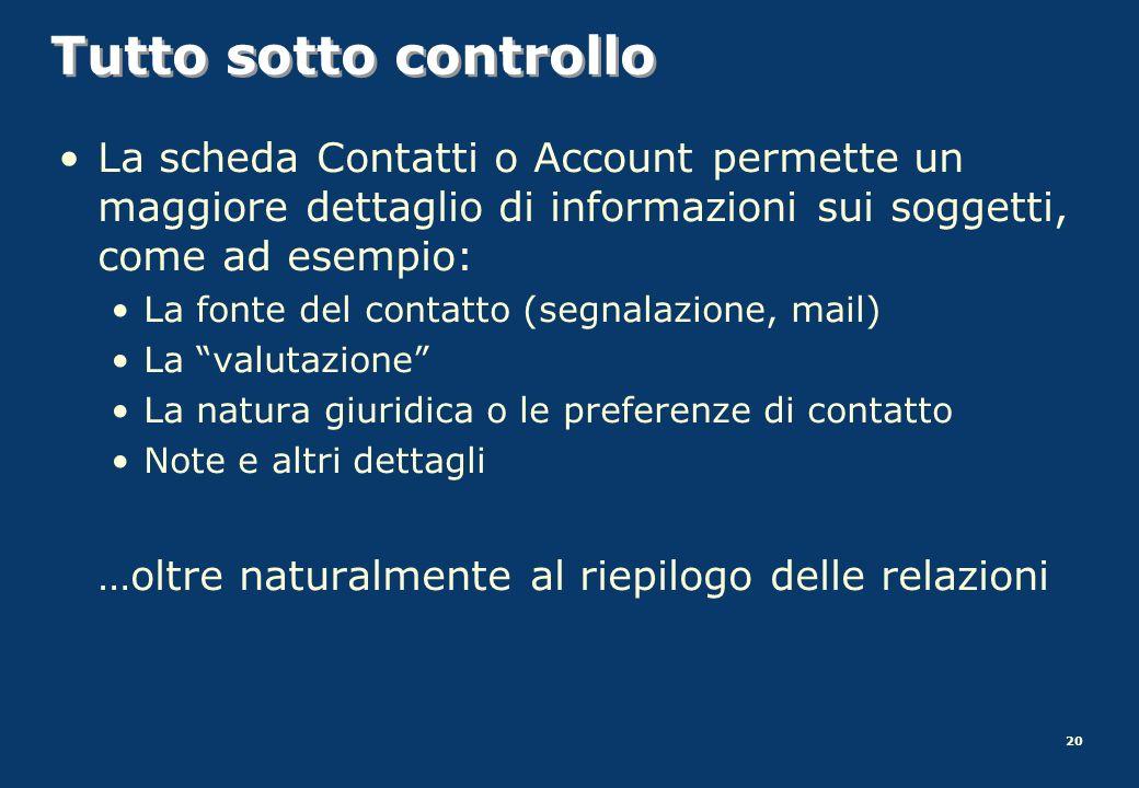 Tutto sotto controllo La scheda Contatti o Account permette un maggiore dettaglio di informazioni sui soggetti, come ad esempio: