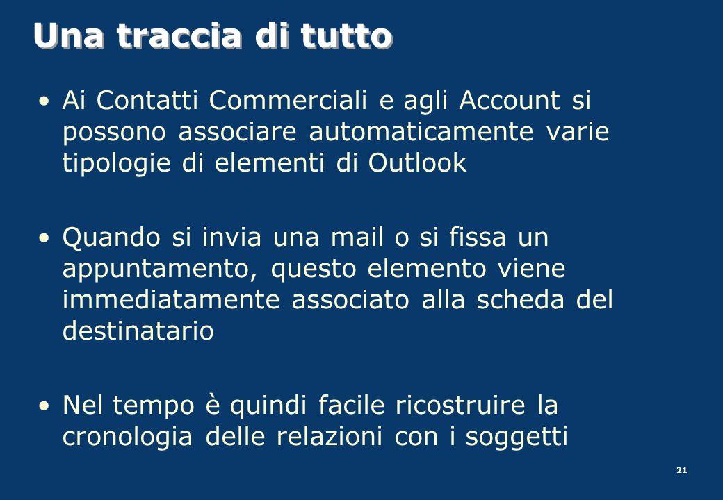Una traccia di tutto Ai Contatti Commerciali e agli Account si possono associare automaticamente varie tipologie di elementi di Outlook.