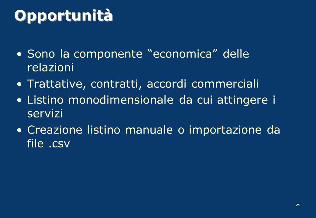 Opportunità Sono la componente economica delle relazioni