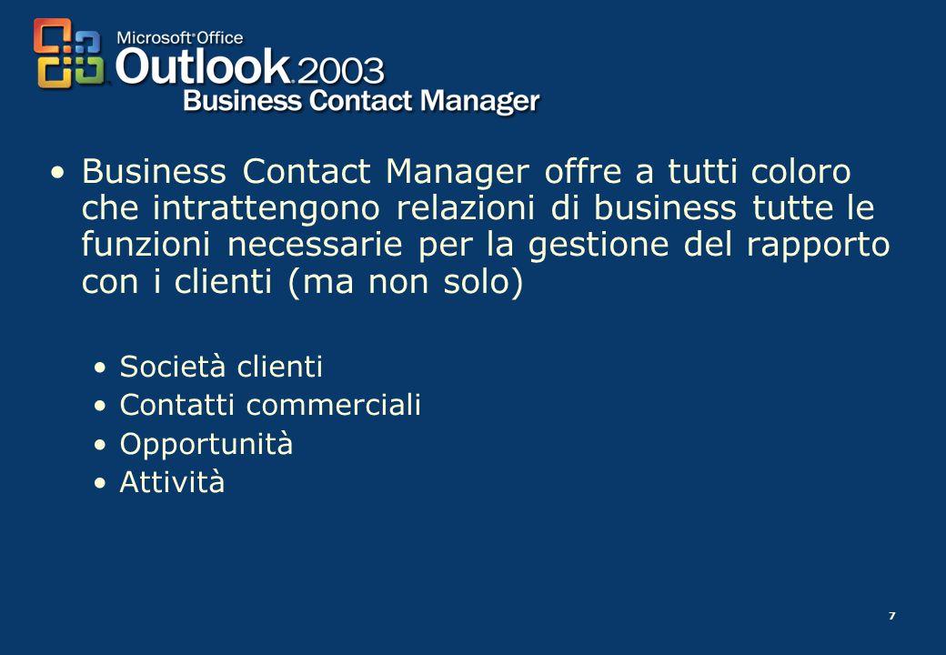 Business Contact Manager offre a tutti coloro che intrattengono relazioni di business tutte le funzioni necessarie per la gestione del rapporto con i clienti (ma non solo)