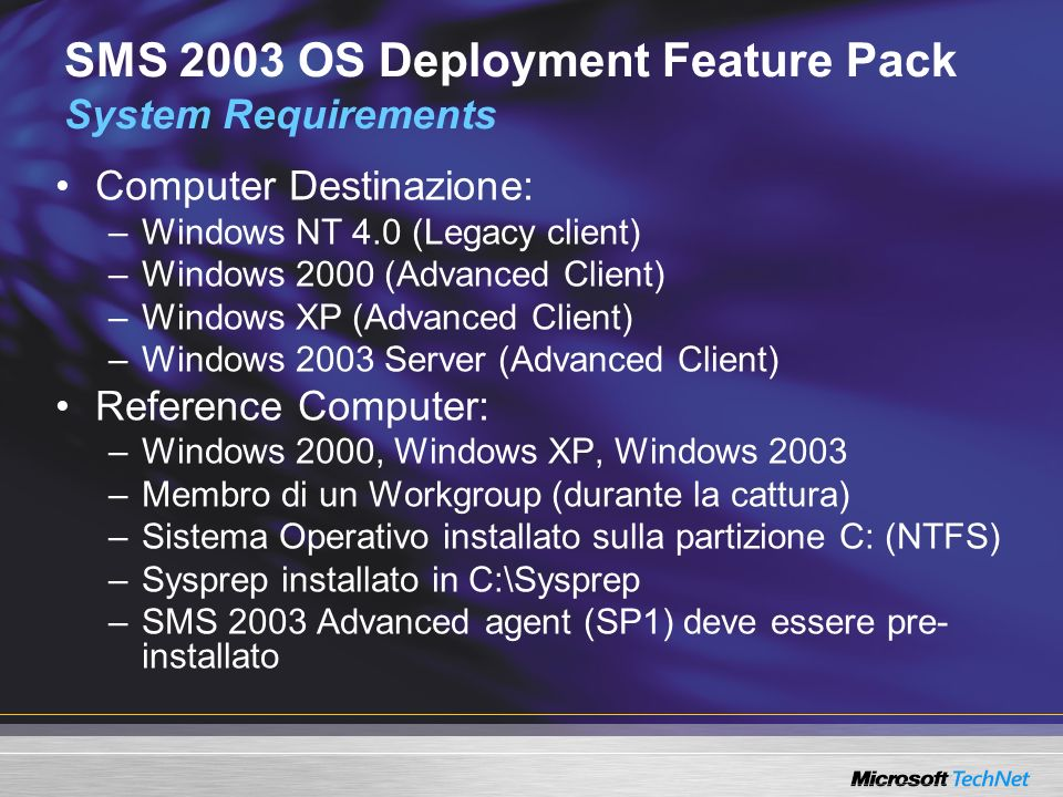 SMS 2003 OS Deployment Feature Pack System Requirements