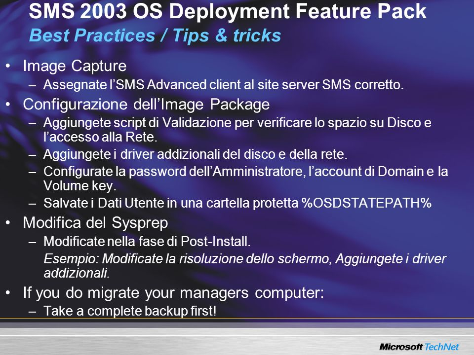 SMS 2003 OS Deployment Feature Pack Best Practices / Tips & tricks