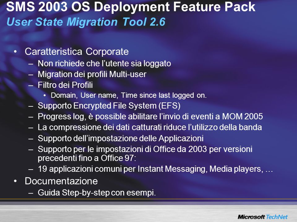 SMS 2003 OS Deployment Feature Pack User State Migration Tool 2.6