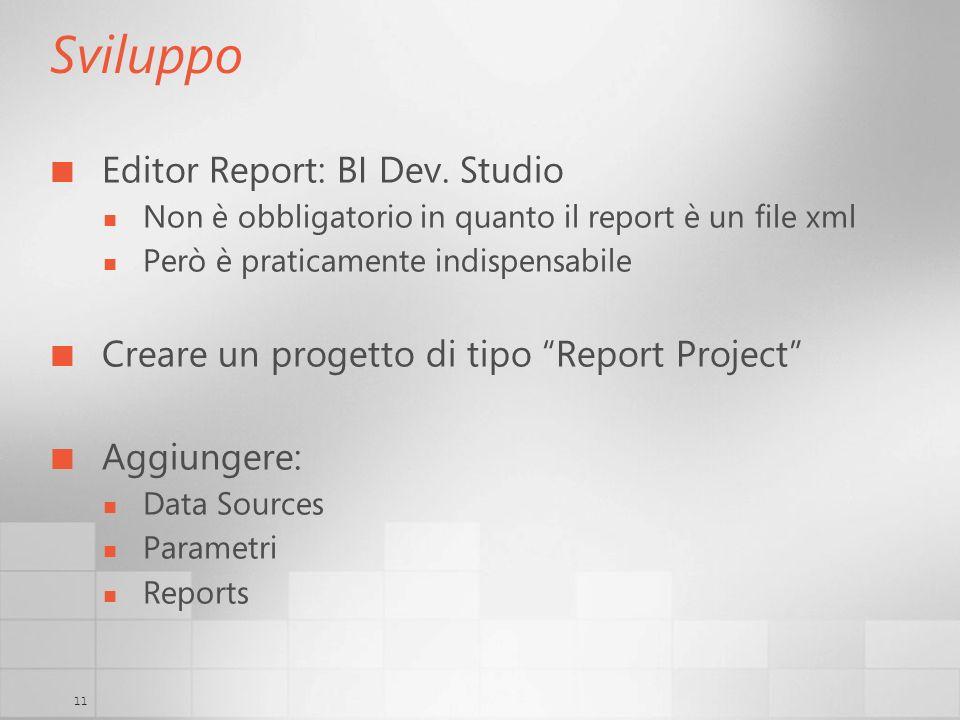Sviluppo Editor Report: BI Dev. Studio