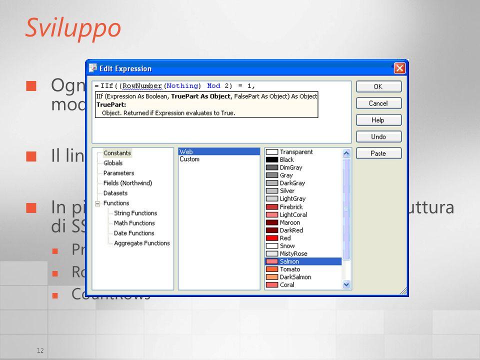 SviluppoOgni proprietà visibile (e non) può essere modificata tramite l'uso di expressions. Il linguaggio è VB.NET.