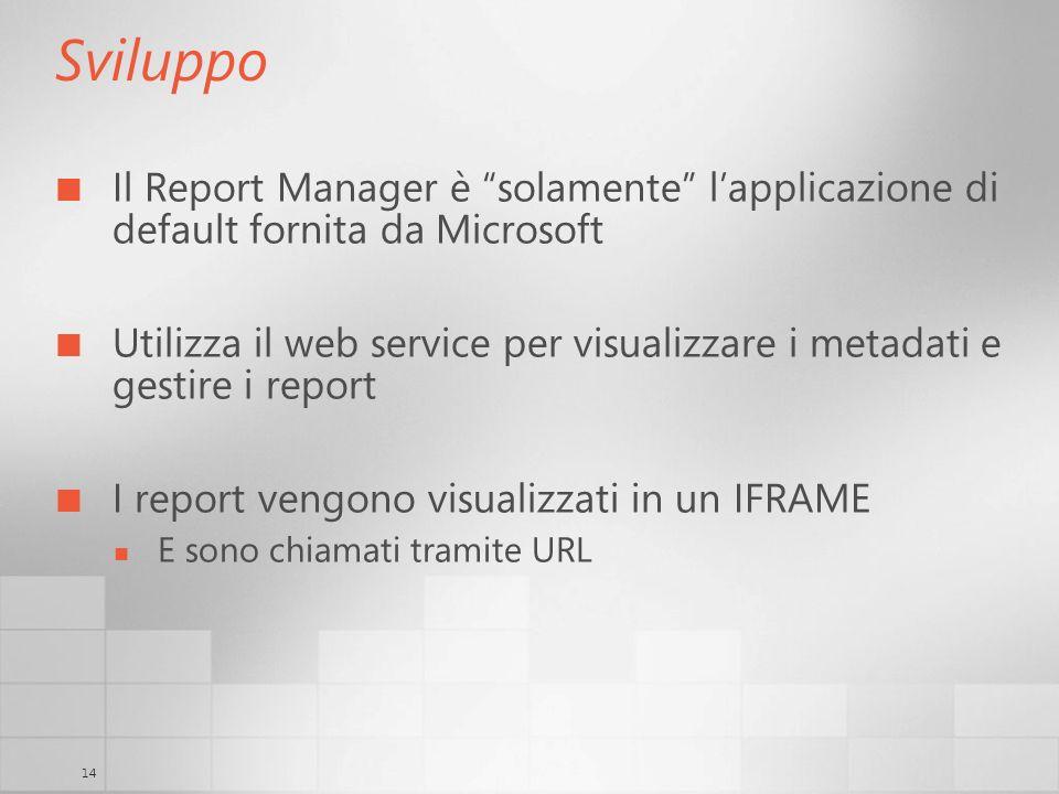 Sviluppo Il Report Manager è solamente l'applicazione di default fornita da Microsoft.
