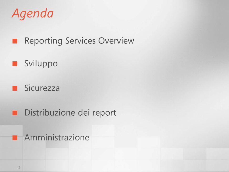 Agenda Reporting Services Overview Sviluppo Sicurezza
