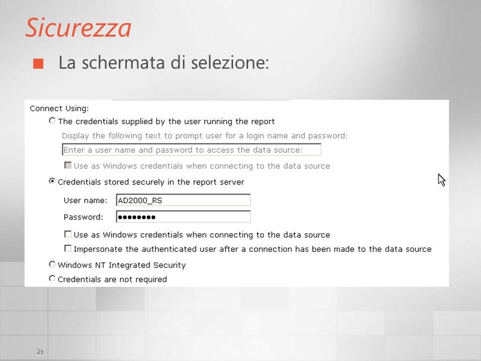 Sicurezza La schermata di selezione: