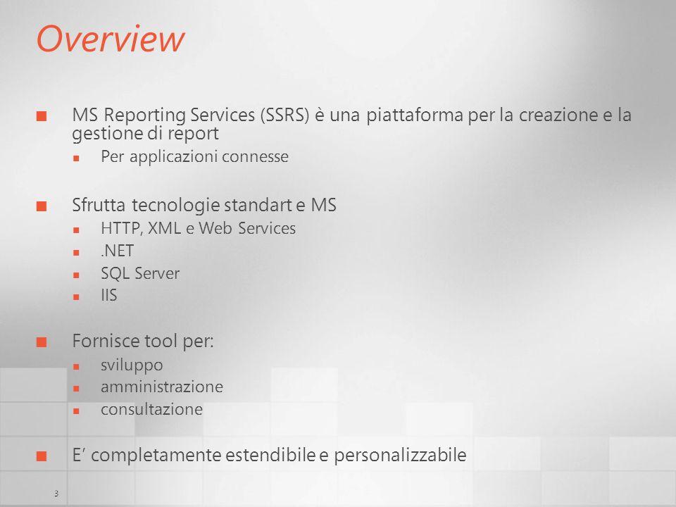 Overview MS Reporting Services (SSRS) è una piattaforma per la creazione e la gestione di report. Per applicazioni connesse.