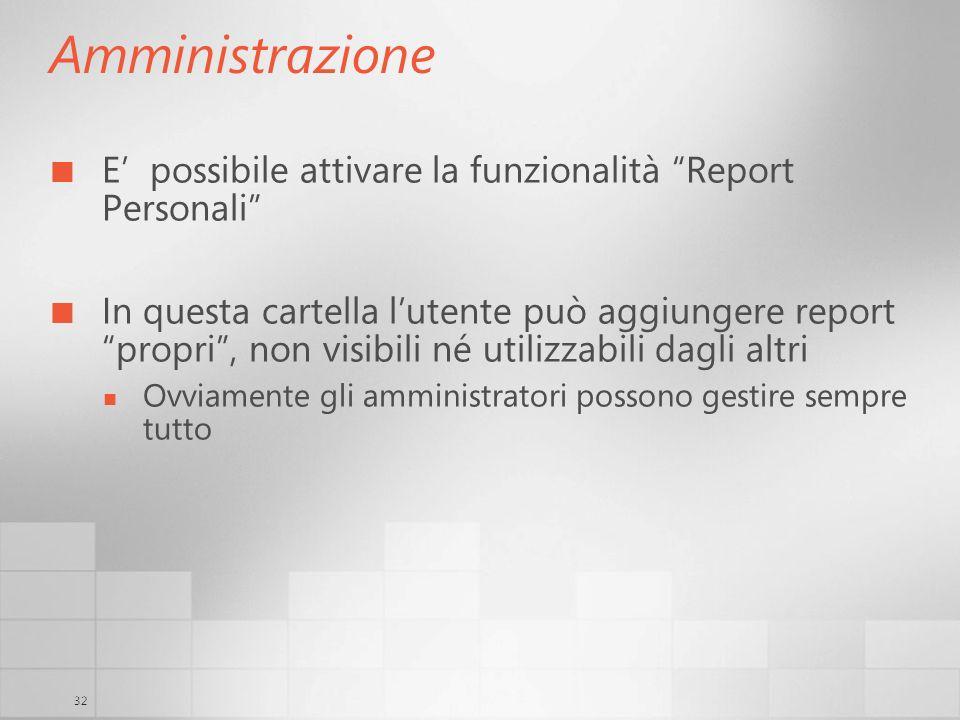 Amministrazione E' possibile attivare la funzionalità Report Personali