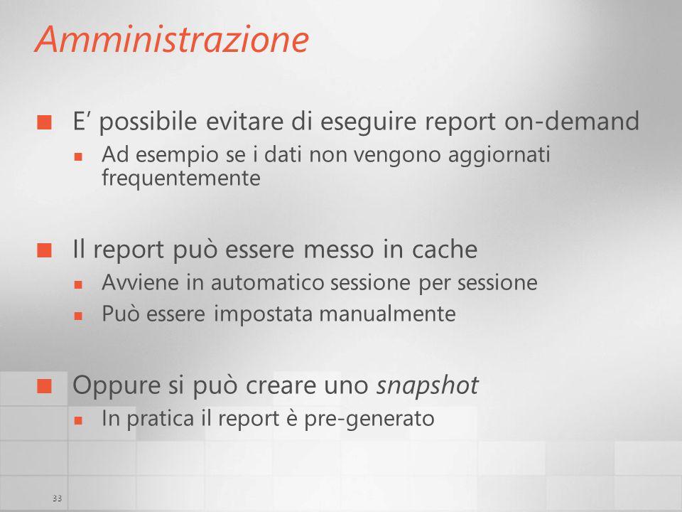 Amministrazione E' possibile evitare di eseguire report on-demand