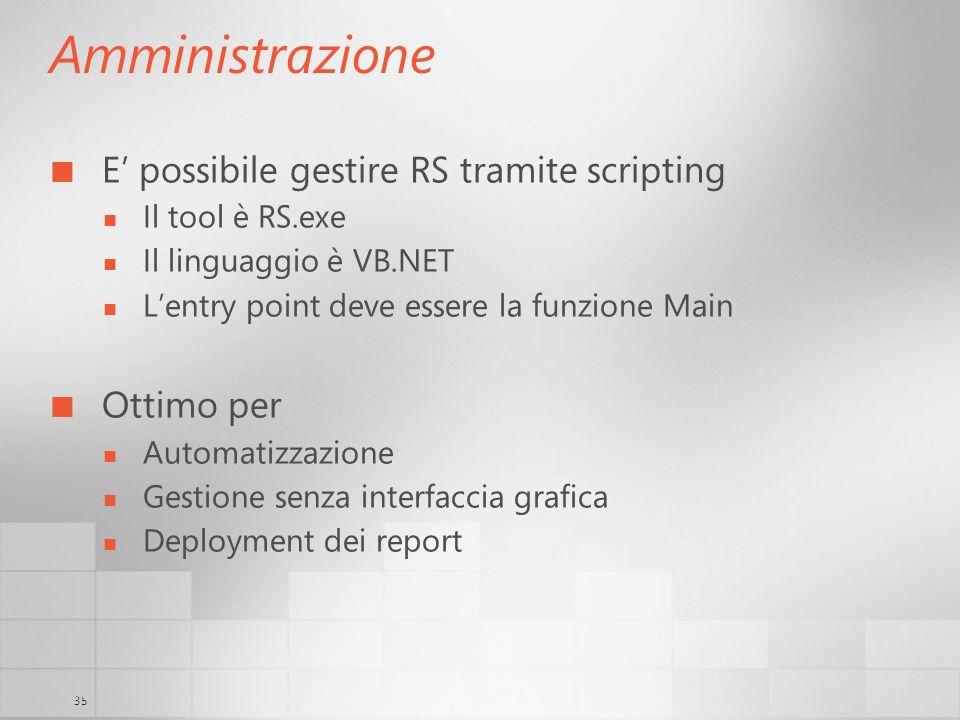 Amministrazione E' possibile gestire RS tramite scripting Ottimo per