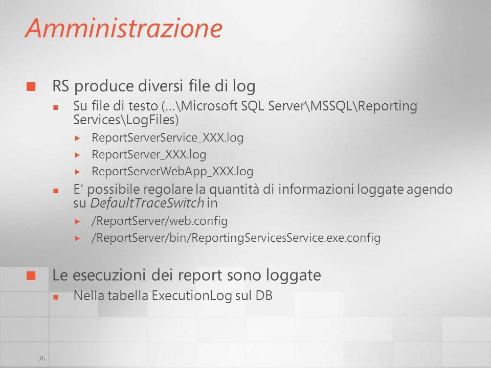 Amministrazione RS produce diversi file di log