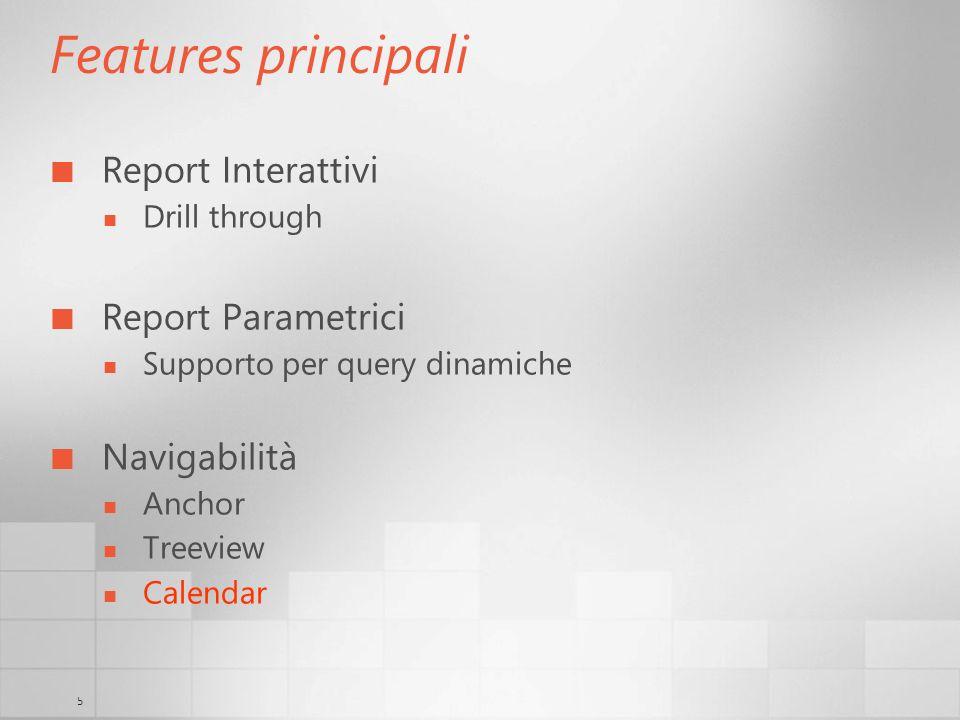 Features principali Report Interattivi Report Parametrici Navigabilità