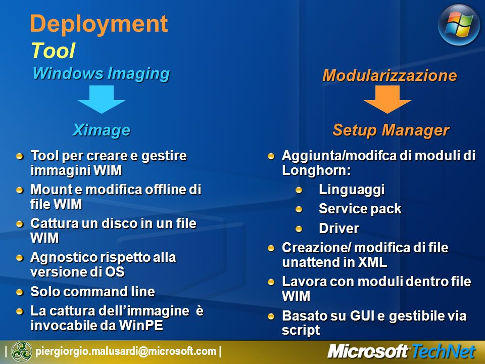 Deployment Tool Modularizzazione Windows Imaging Ximage Setup Manager