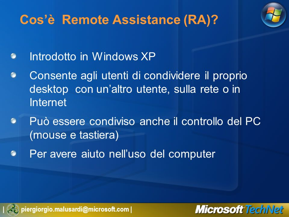 Cos'è Remote Assistance (RA)