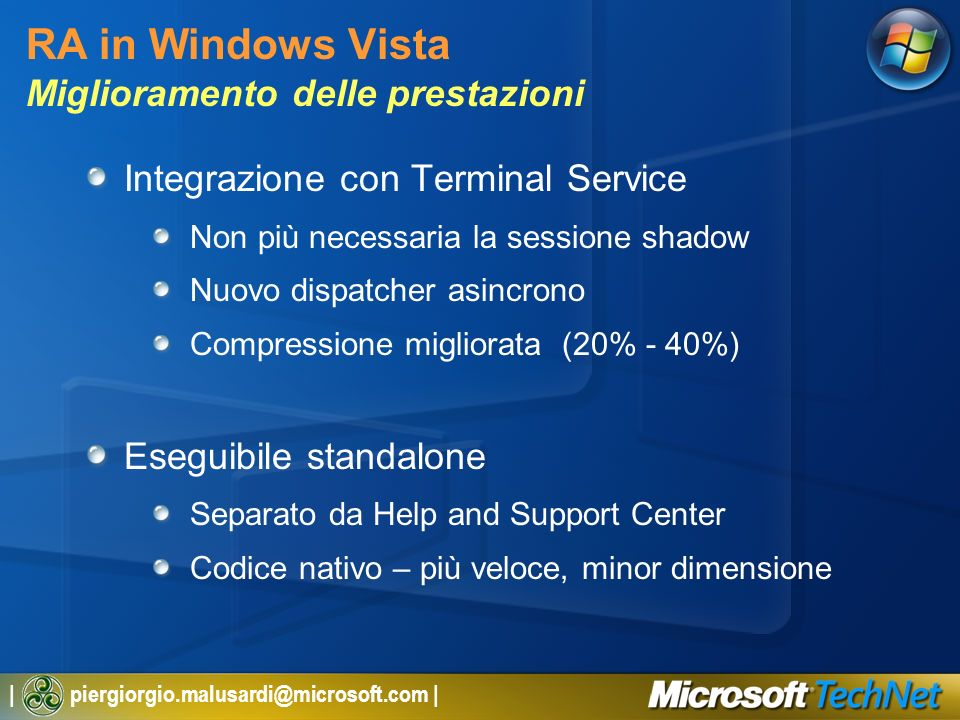RA in Windows Vista Miglioramento delle prestazioni