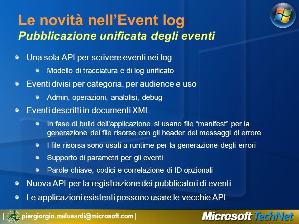 Le novità nell'Event log Pubblicazione unificata degli eventi