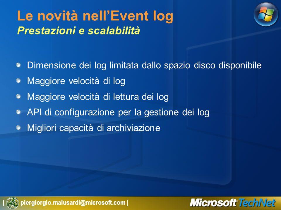 Le novità nell'Event log Prestazioni e scalabilità
