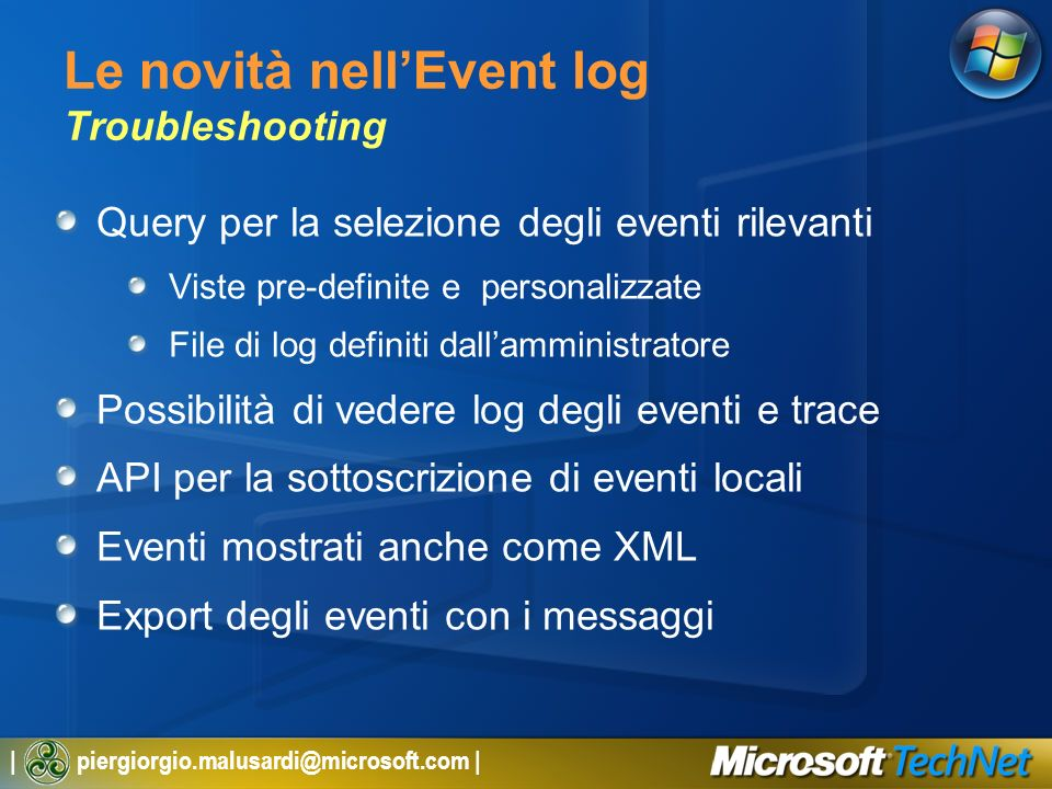 Le novità nell'Event log Troubleshooting