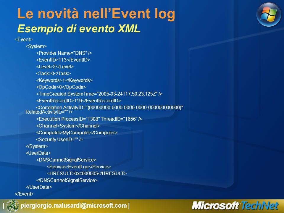 Le novità nell'Event log Esempio di evento XML