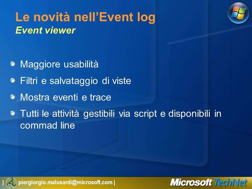 Le novità nell'Event log Event viewer