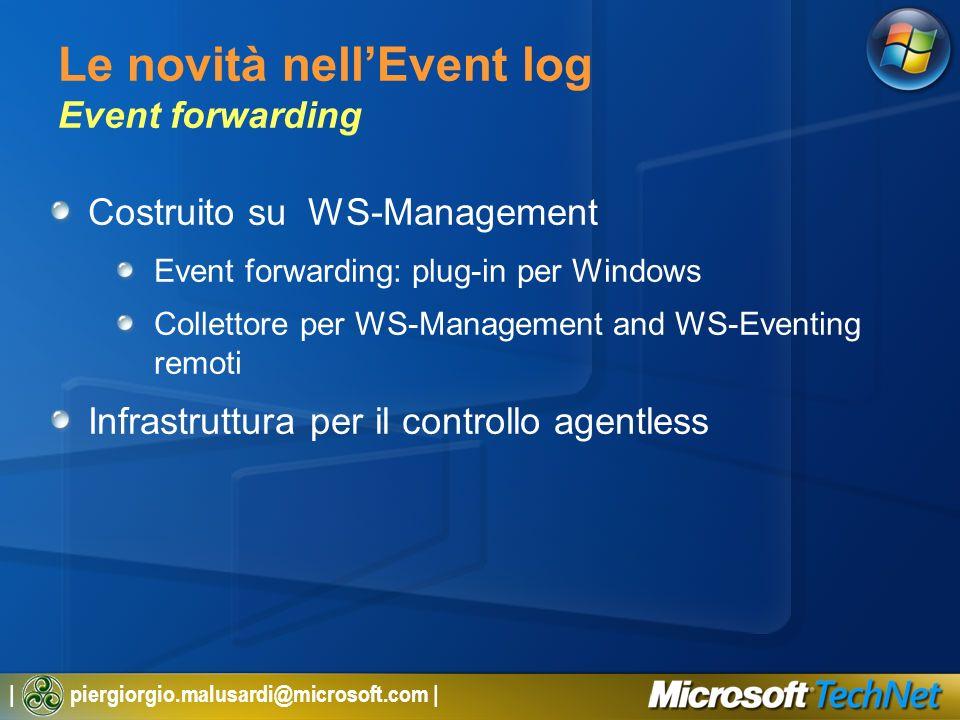 Le novità nell'Event log Event forwarding