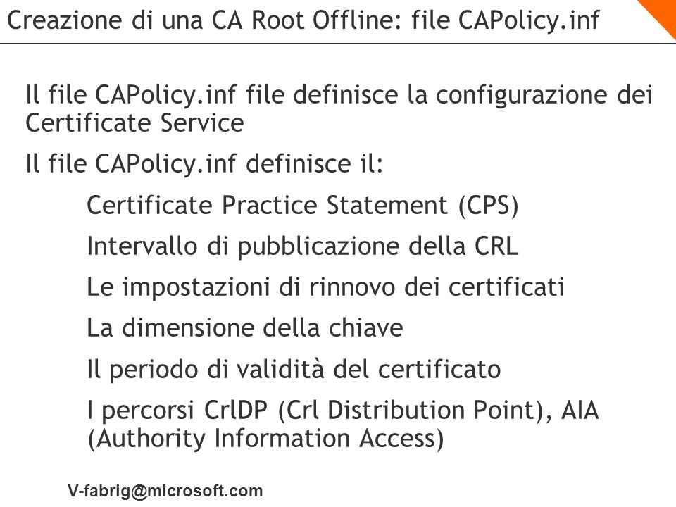 Creazione di una CA Root Offline: file CAPolicy.inf