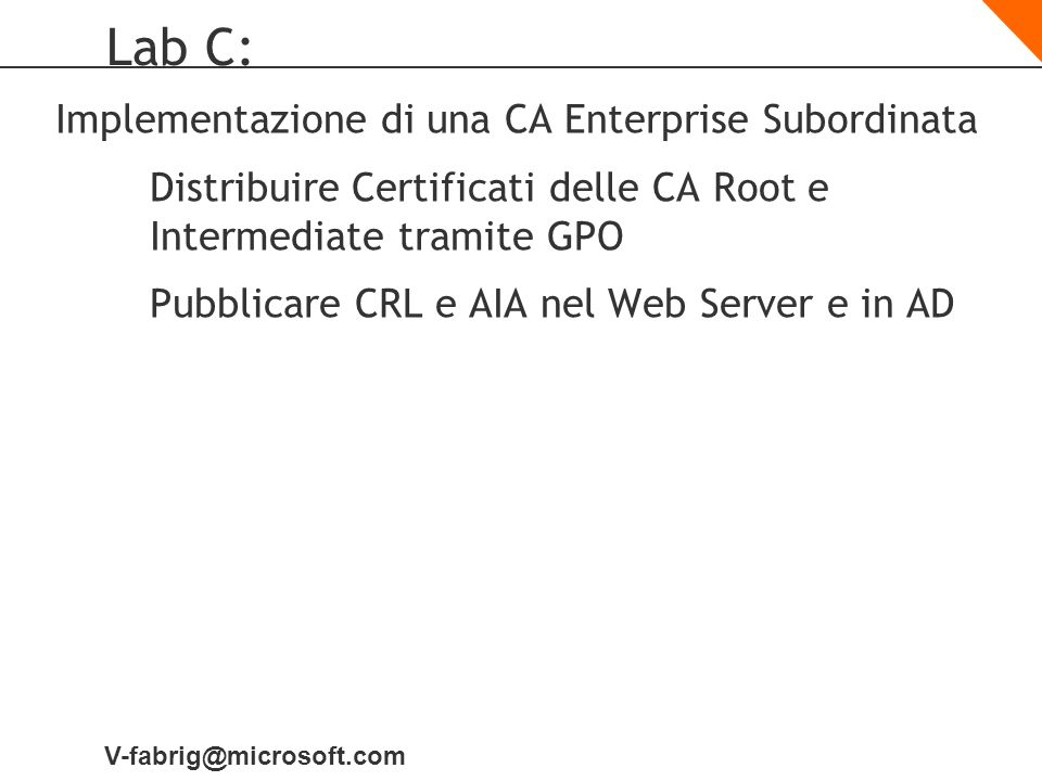 Lab C: Implementazione di una CA Enterprise Subordinata