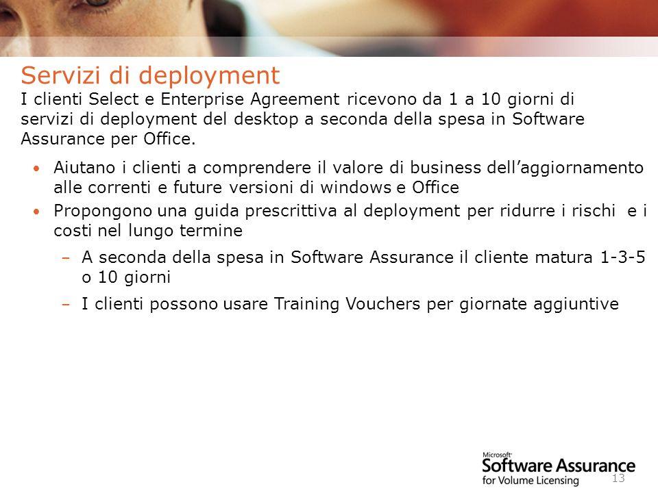 Servizi di deployment I clienti Select e Enterprise Agreement ricevono da 1 a 10 giorni di servizi di deployment del desktop a seconda della spesa in Software Assurance per Office.