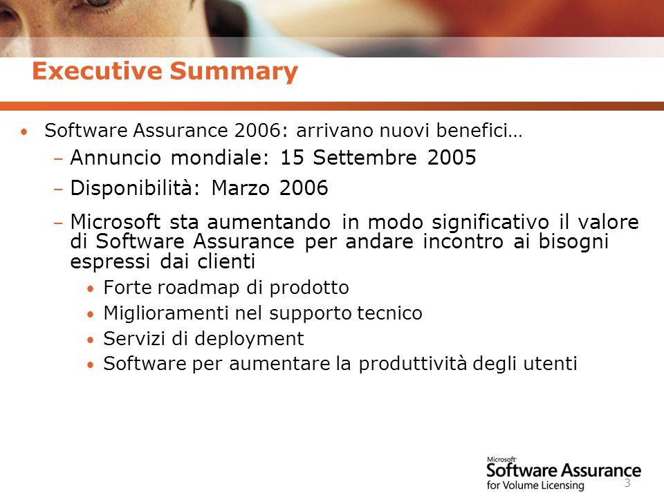 Executive Summary Annuncio mondiale: 15 Settembre 2005