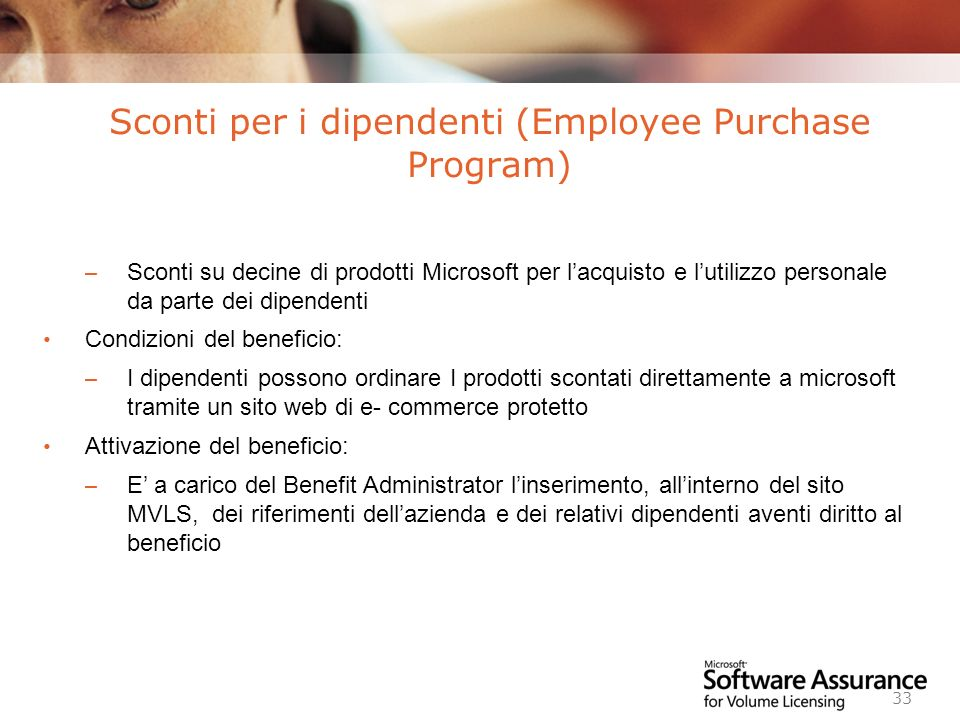 Sconti per i dipendenti (Employee Purchase Program)