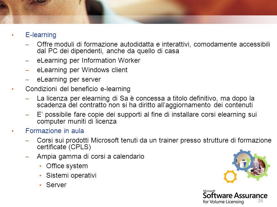 E-learning Offre moduli di formazione autodidatta e interattivi, comodamente accessibili dal PC dei dipendenti, anche da quello di casa.