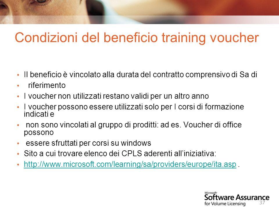 Condizioni del beneficio training voucher