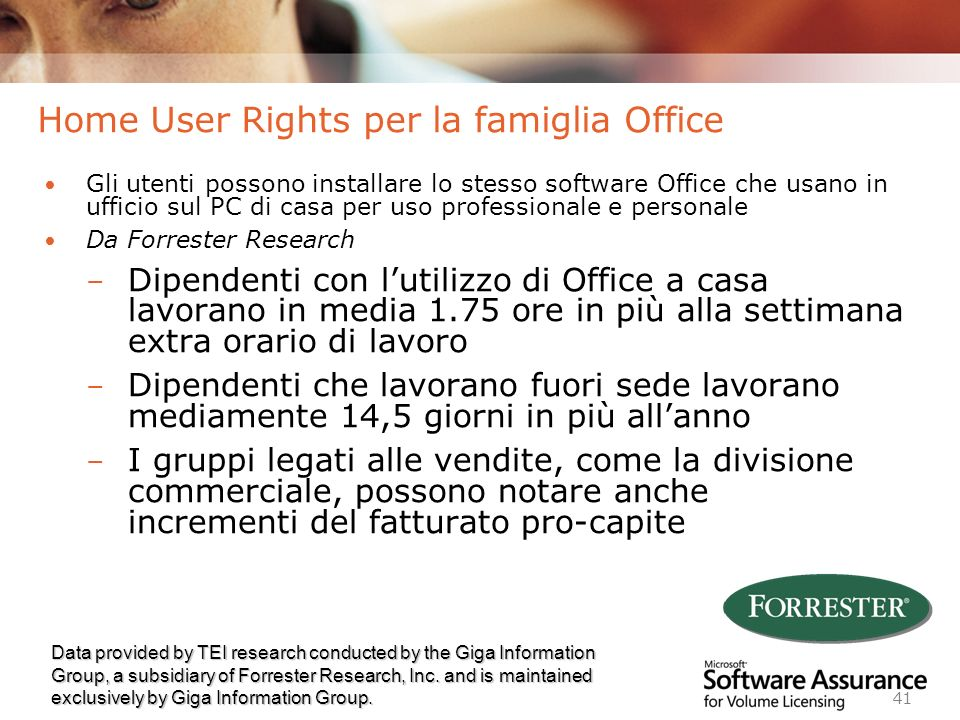 Home User Rights per la famiglia Office
