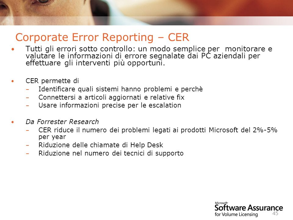 Corporate Error Reporting – CER