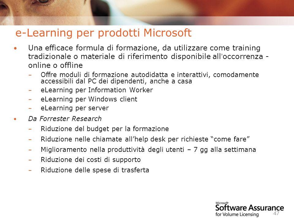 e-Learning per prodotti Microsoft