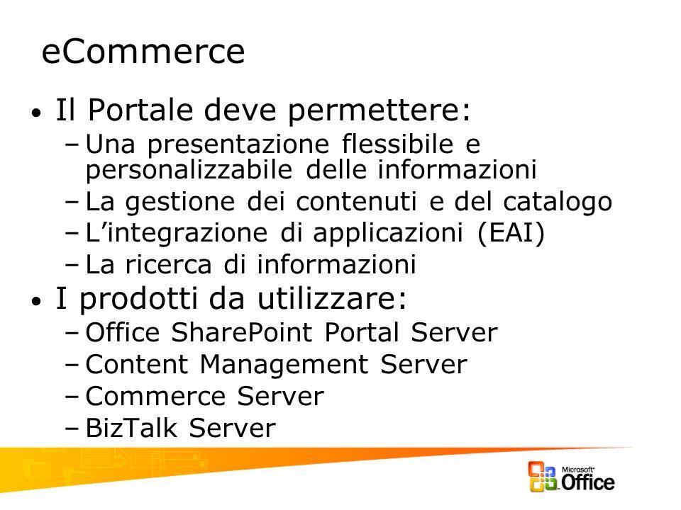 eCommerce Il Portale deve permettere: I prodotti da utilizzare: