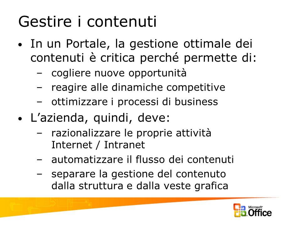 Gestire i contenuti In un Portale, la gestione ottimale dei contenuti è critica perché permette di: