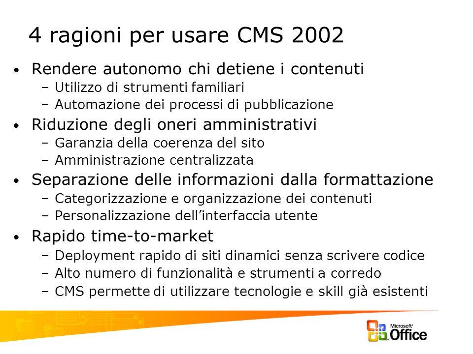 4 ragioni per usare CMS 2002 Rendere autonomo chi detiene i contenuti