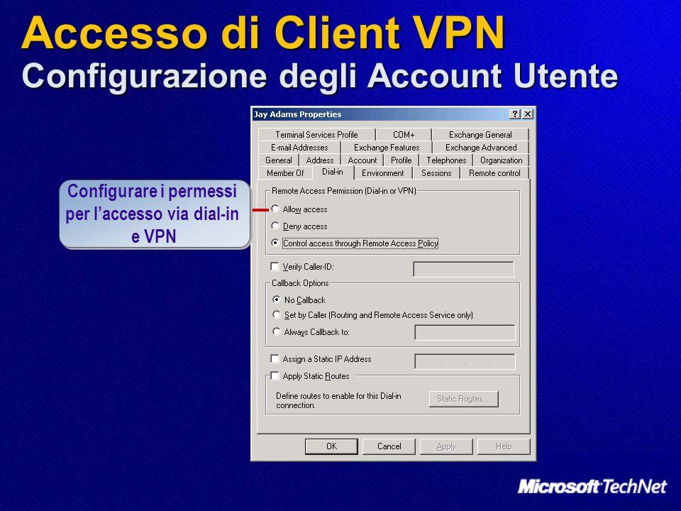 Accesso di Client VPN Configurazione degli Account Utente