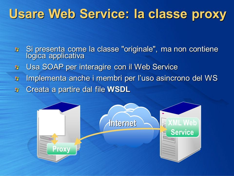 Usare Web Service: la classe proxy