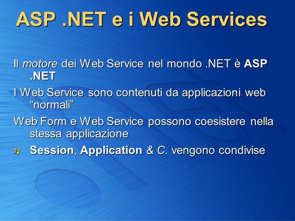 ASP .NET e i Web Services Il motore dei Web Service nel mondo .NET è ASP .NET. I Web Service sono contenuti da applicazioni web normali