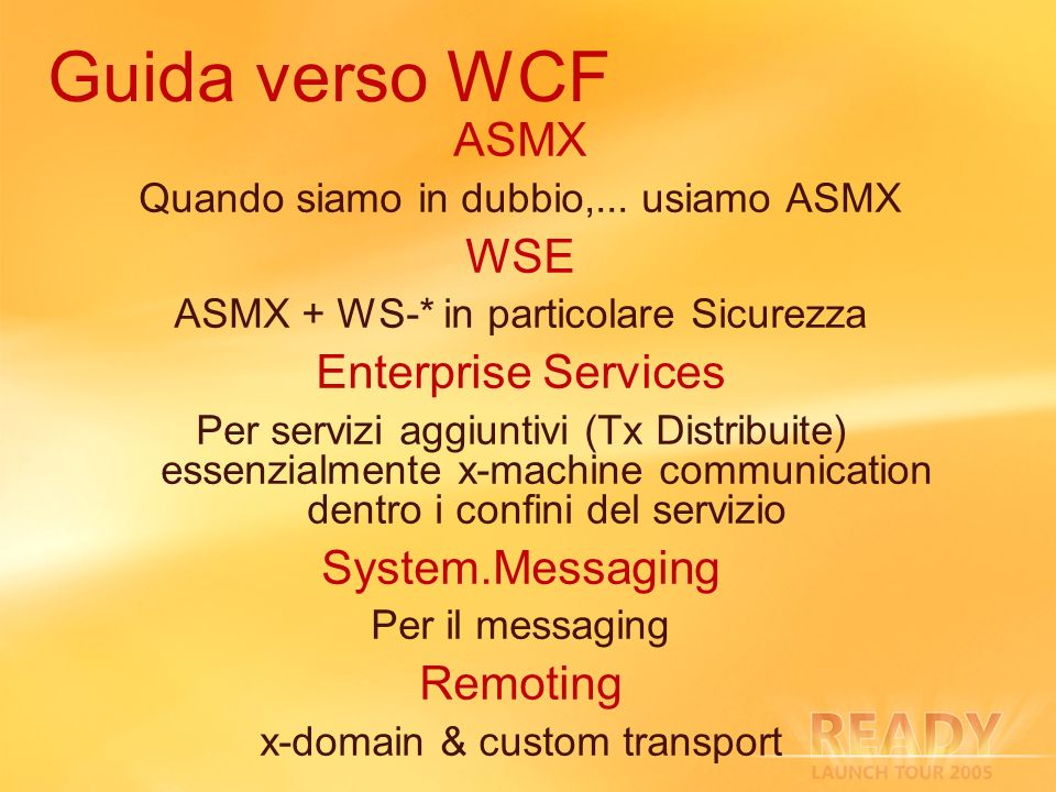 Guida verso WCF ASMX WSE Enterprise Services System.Messaging Remoting