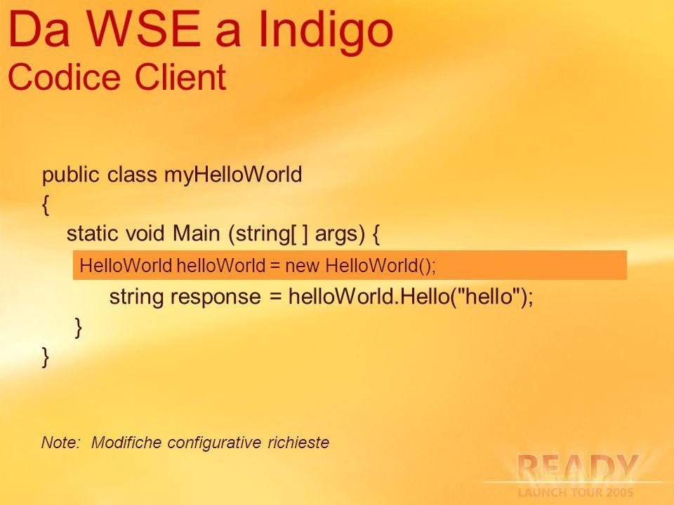 Da WSE a Indigo Codice Client