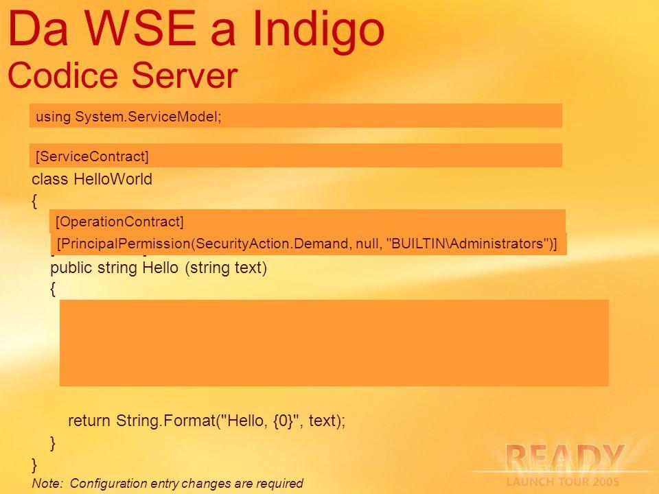 Da WSE a Indigo Codice Server